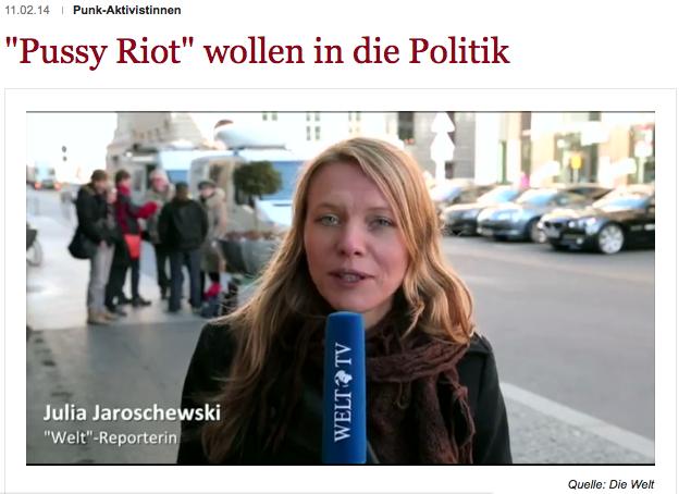 Pussy Riot in Berlin, Bericht J. Jaroschewski (Screenshot: Die Welt)